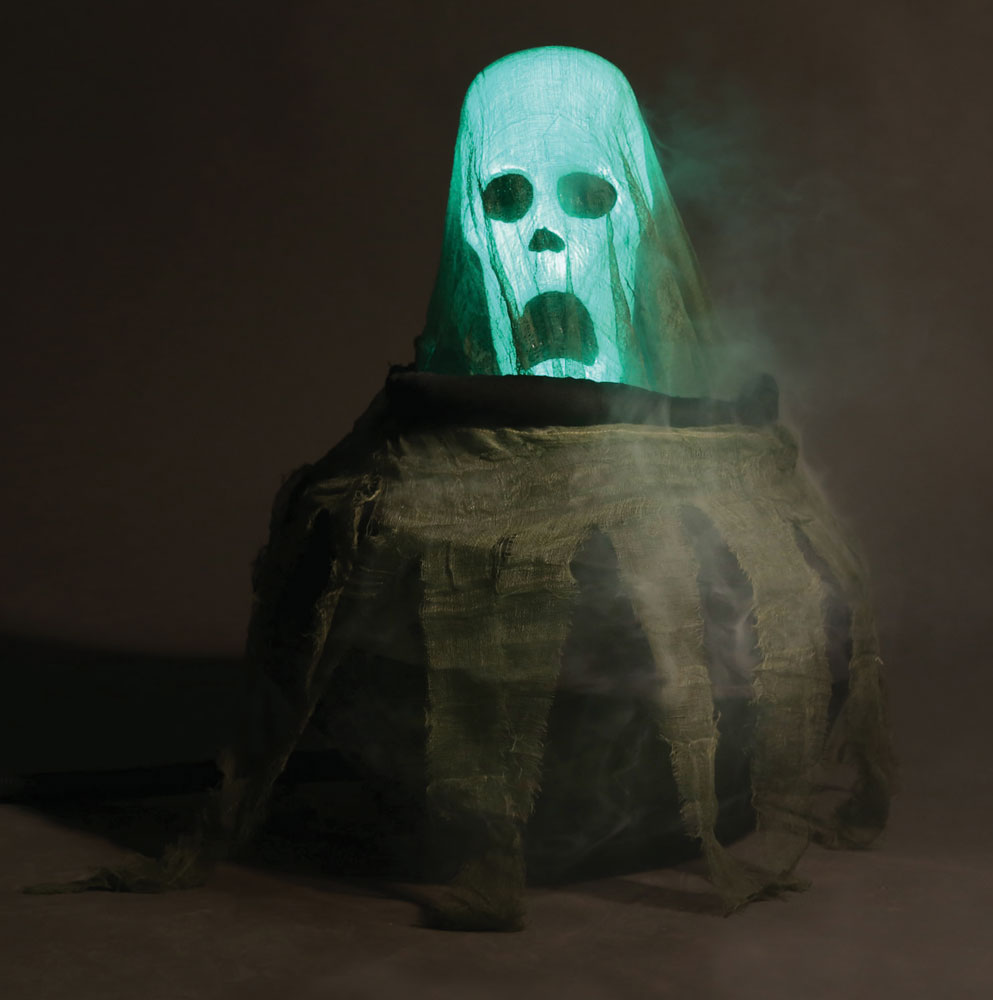 Moving Halloween Decorations: New Cauldron Spirit Animated Halloween Prop Moving Ghost